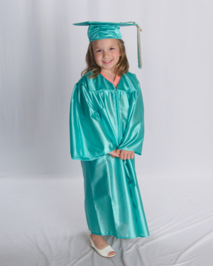 young girl wearing toga