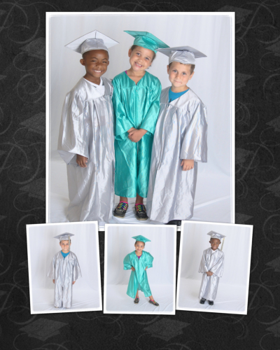 group of kid wearing toga